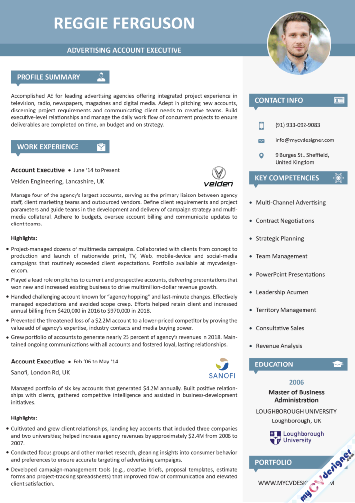 Advertising Account Executive Visual Resume Example