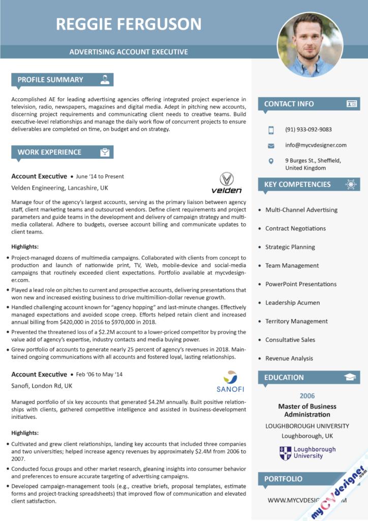 Advertising Account Executive Visual Resume Example