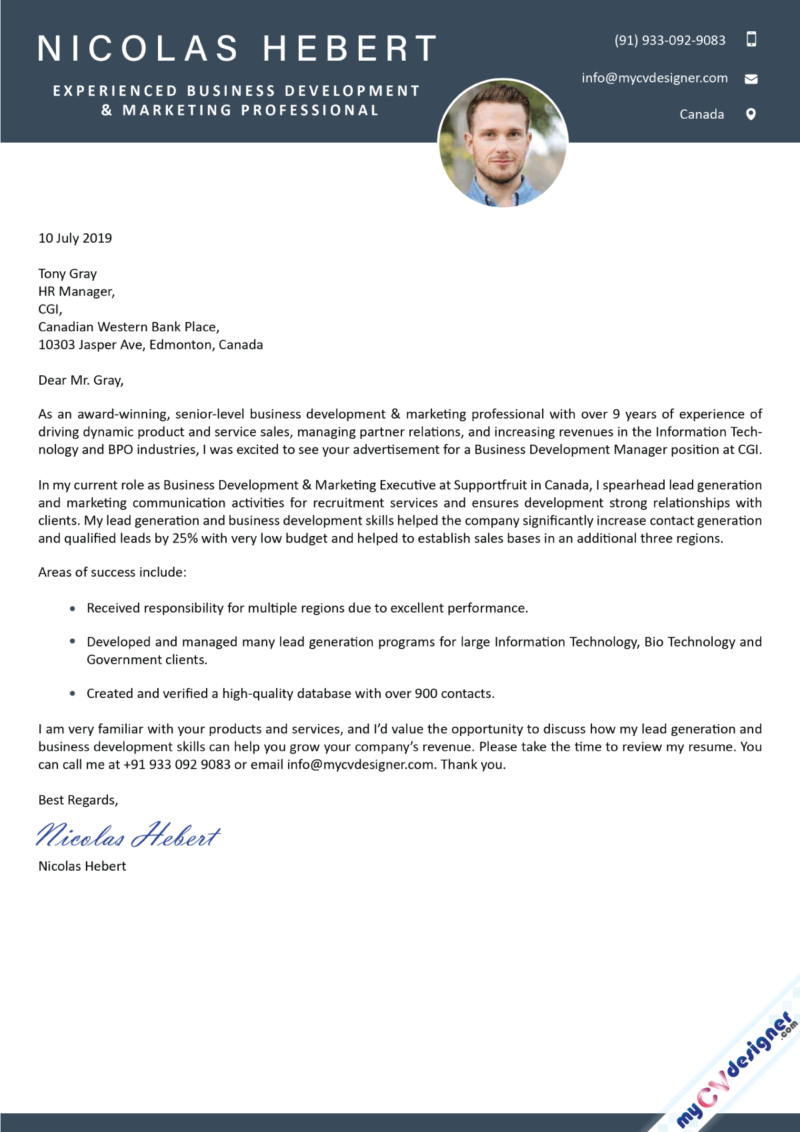 Business Development and Marketing Cover Letter Sample