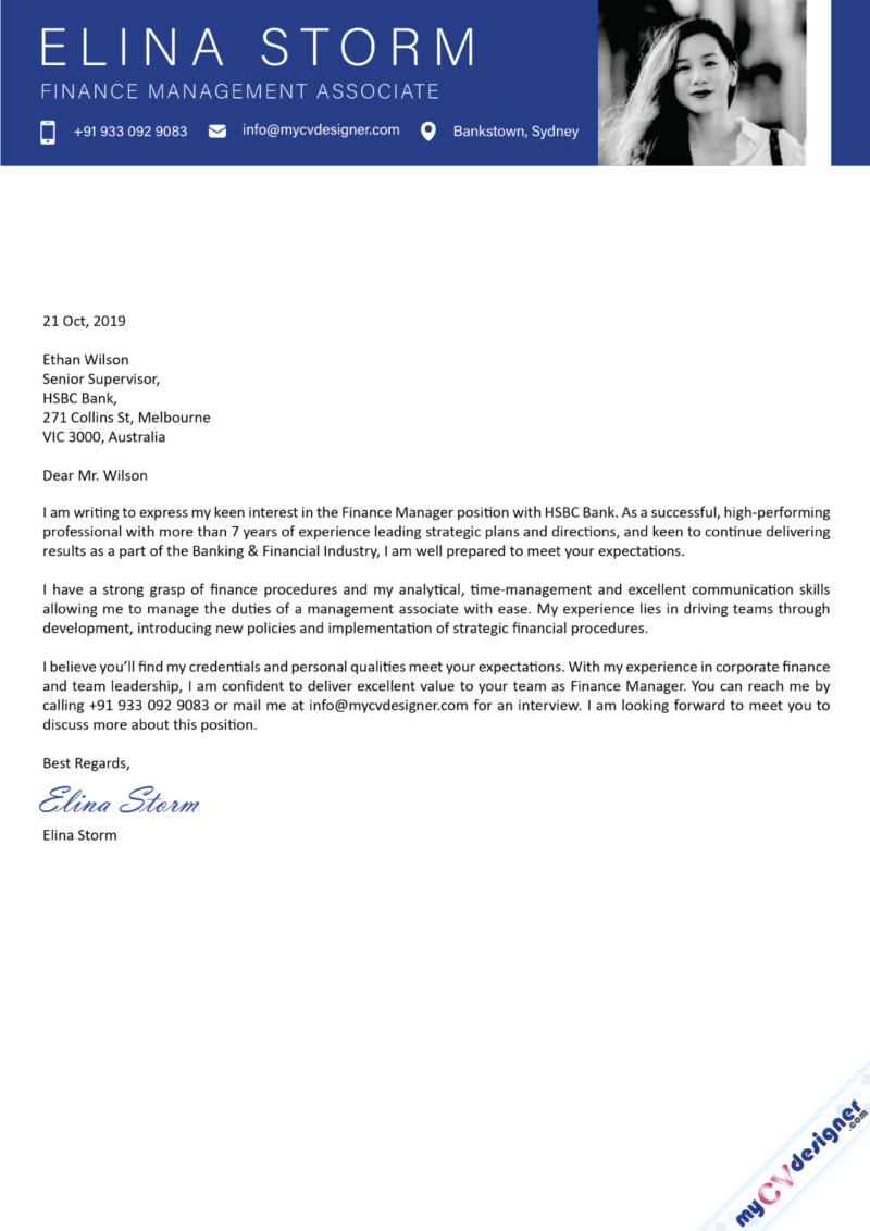 Finance Management Associate Cover Letter Sample