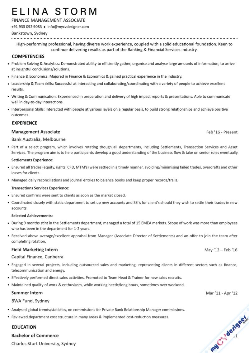 Finance Management Associate Text Resume Sample