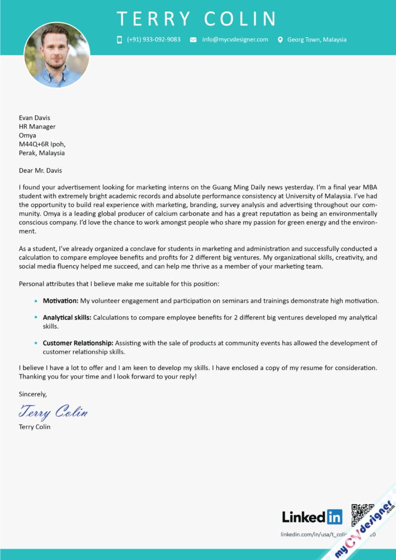 Fresher Cover Letter Sample