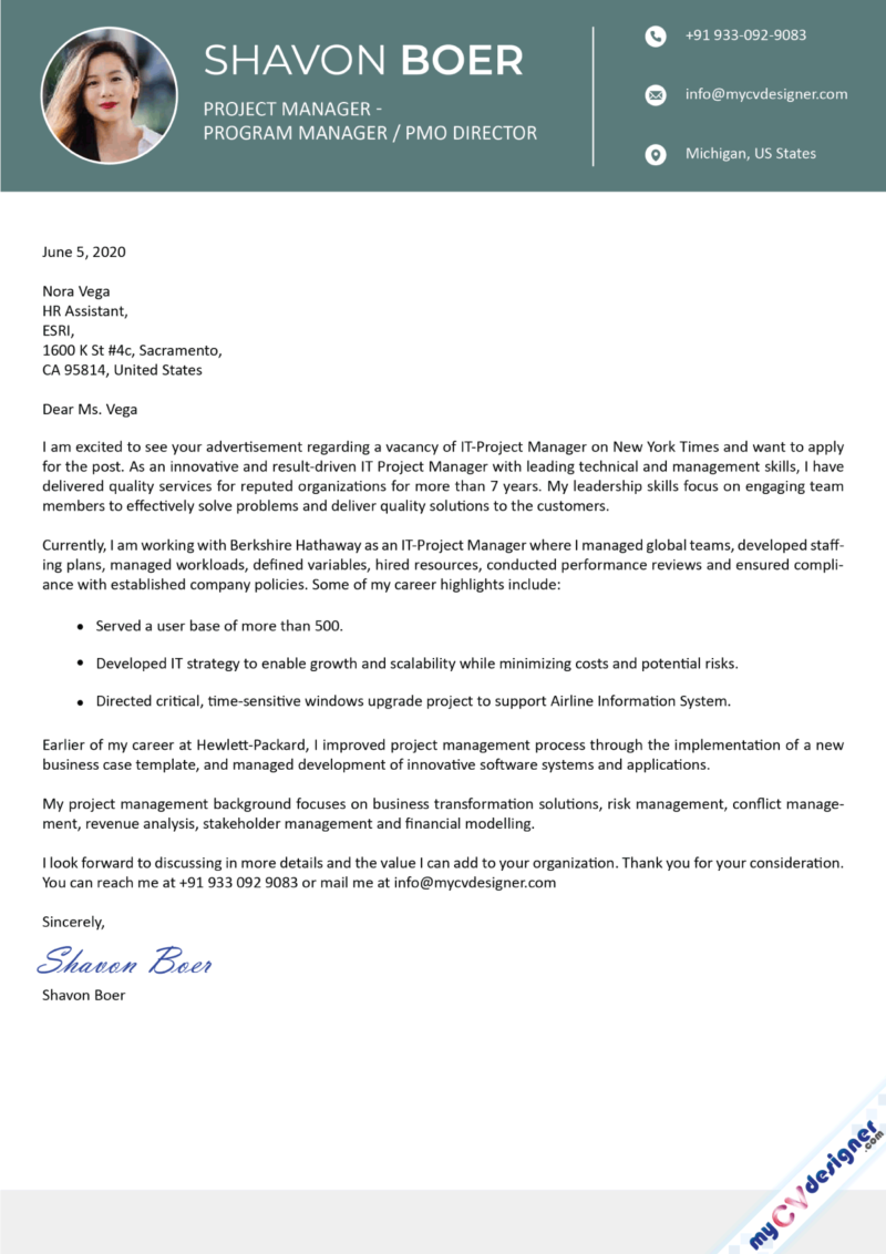 Project Manager Program Manager Cover Letter Sample