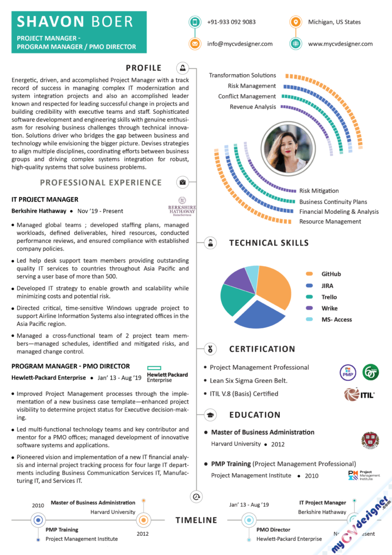 Project Manager Program Manager Infographic Resume Sample