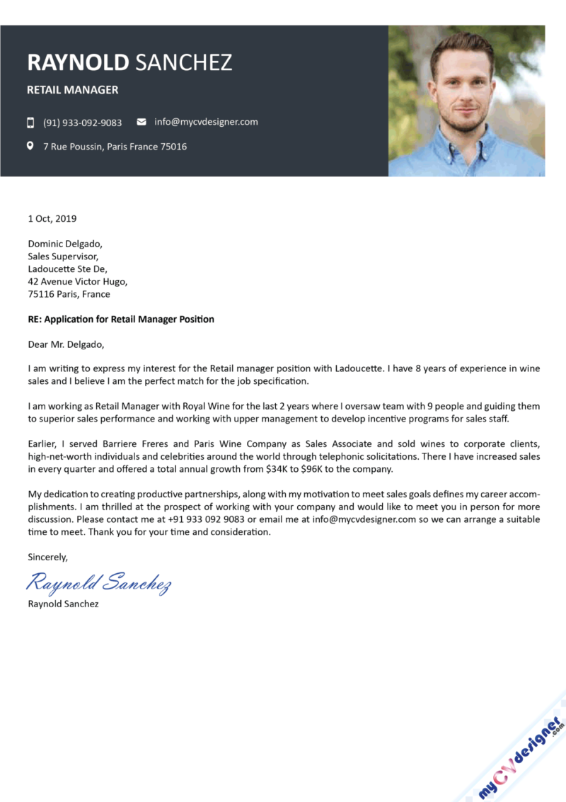 Retail Management Cover Letter Template