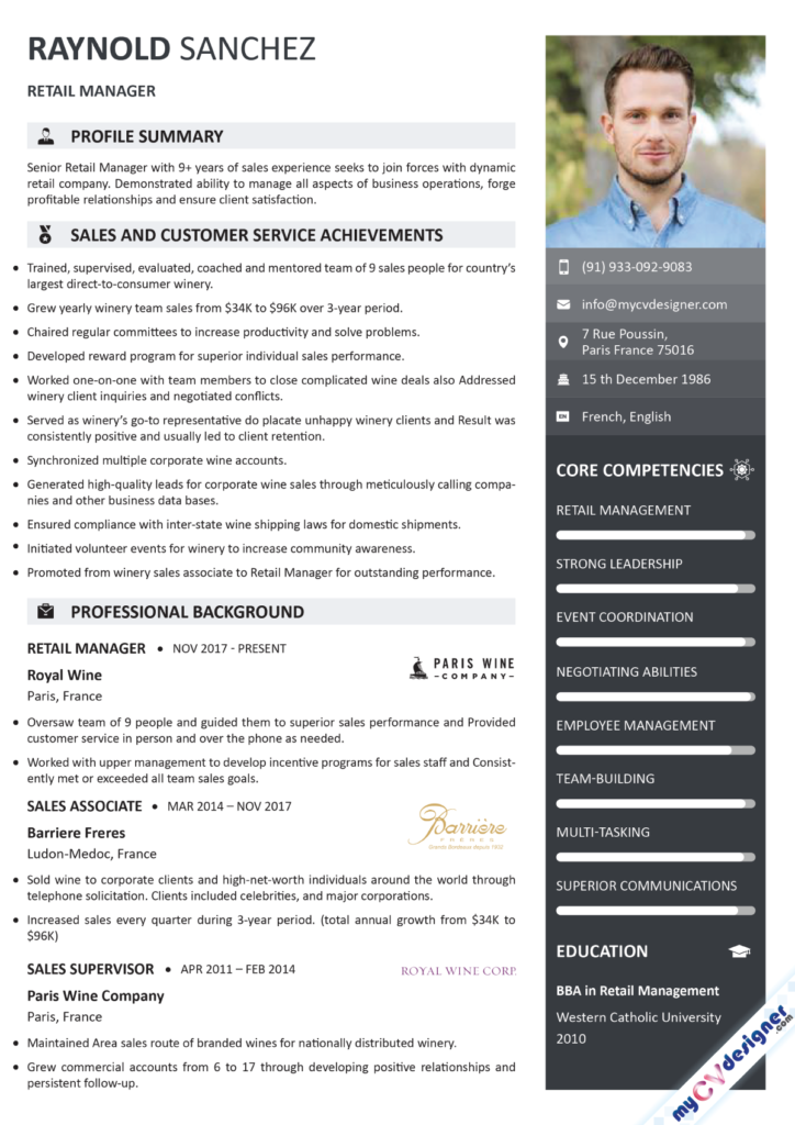 Retail Management Visual Resume Template