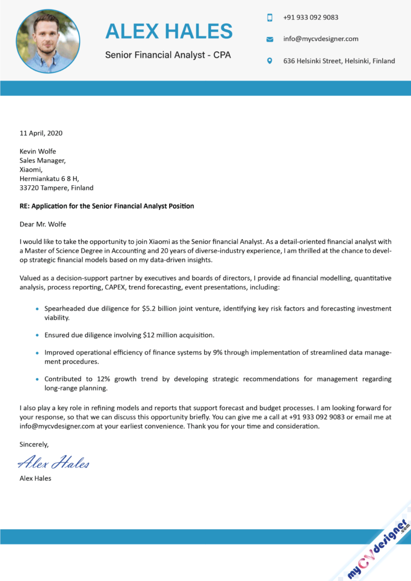 Senior Financial Analyst Cover Letter Example