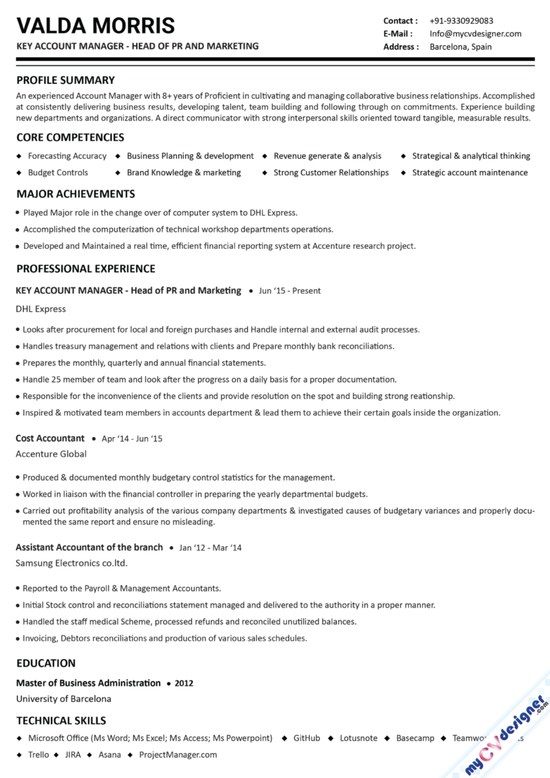 Account Manager Text Resume Template
