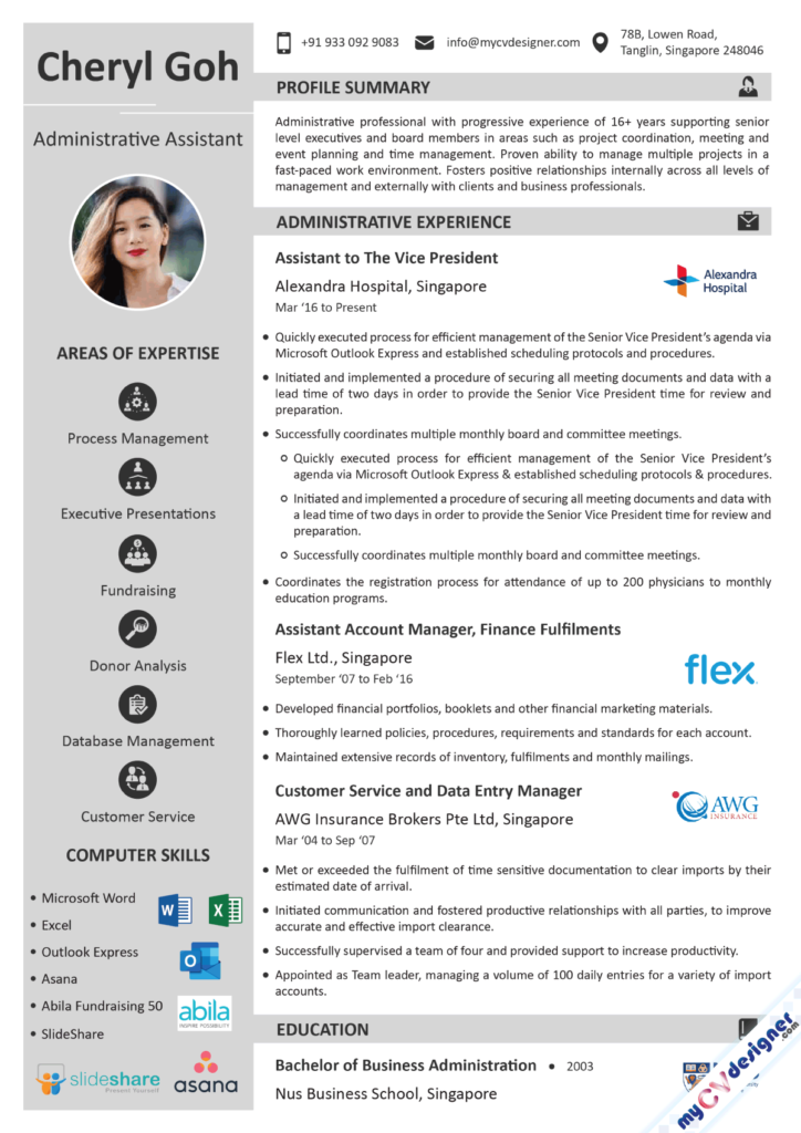 Administrative Assistant Visual Resume Example