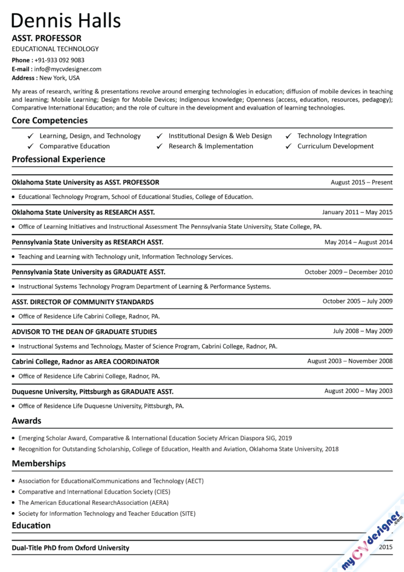 Assistant Professor Text Resume Sample