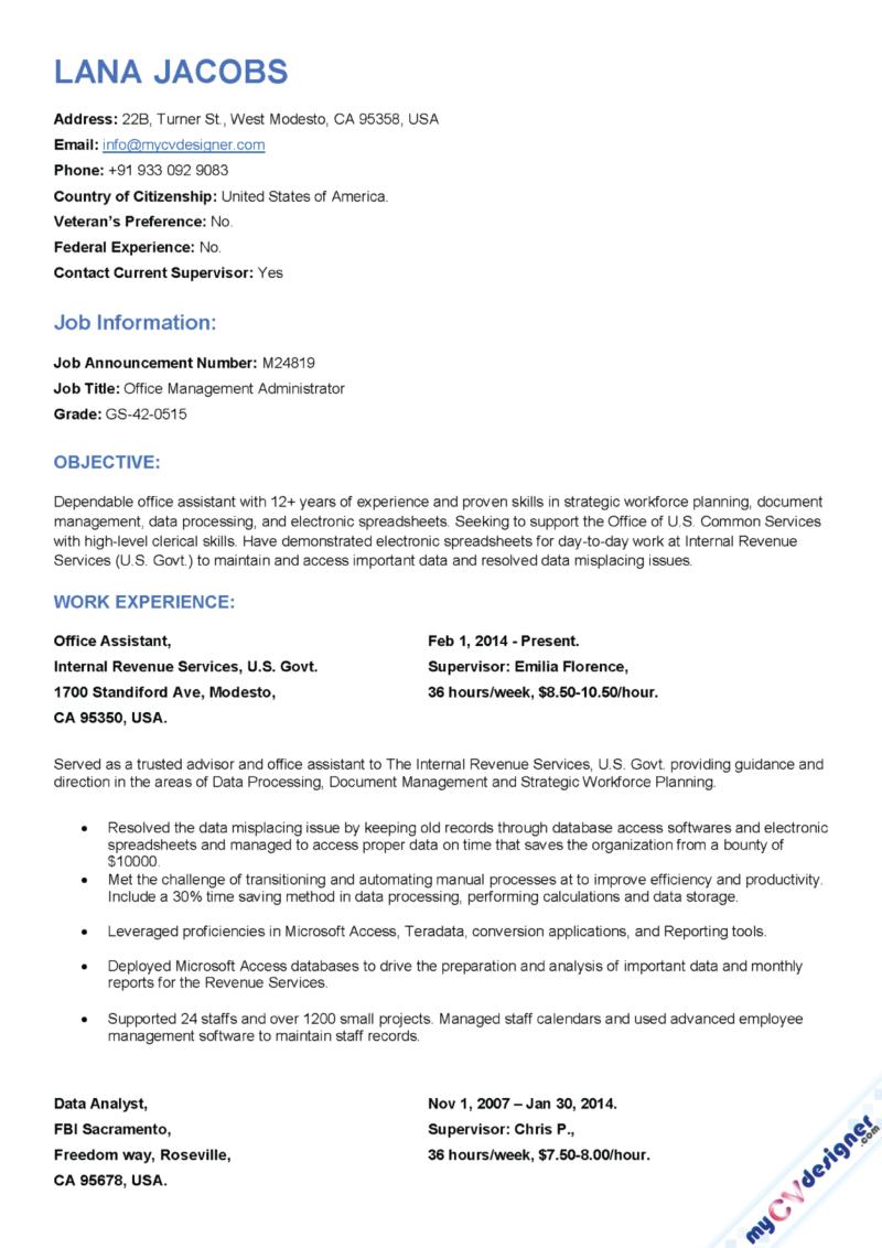 Federal Resume Sample