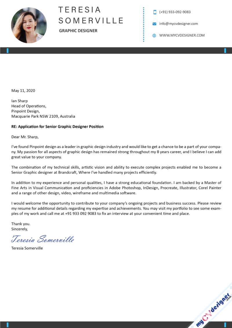 Graphic Designer Cover Letter Sample