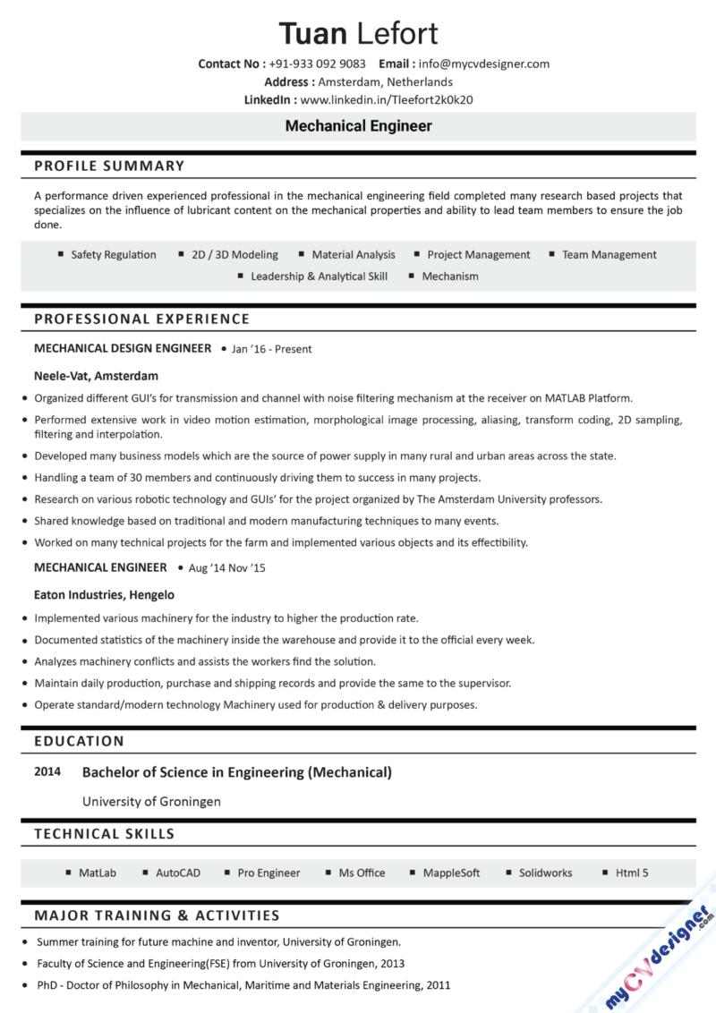 Mechanical Engineer Text Resume Example
