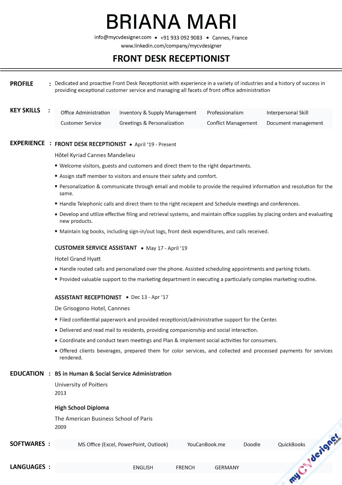 Receptionist Text Resume Template