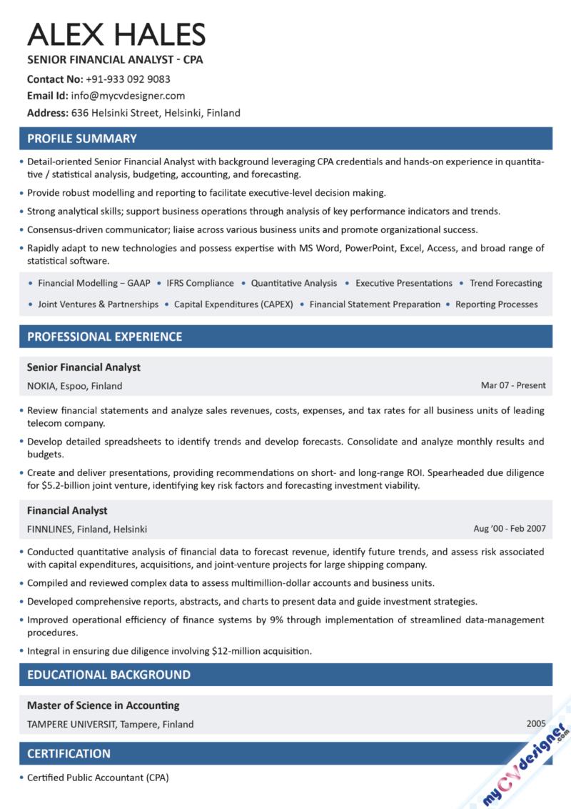 Senior Financial Analyst Text Resume Sample