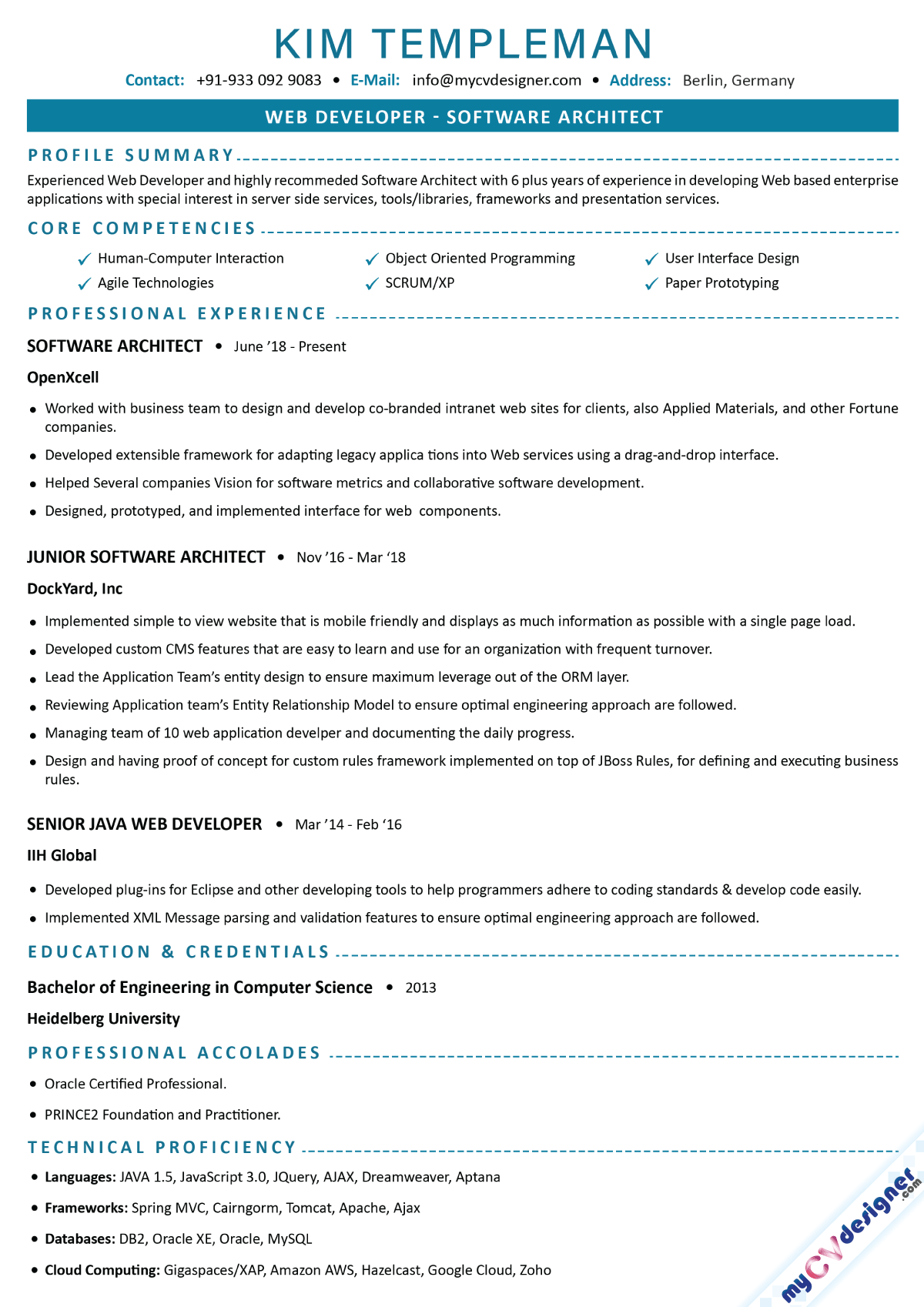 Software Architect Text Resume Example
