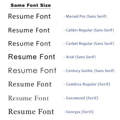 resume font style