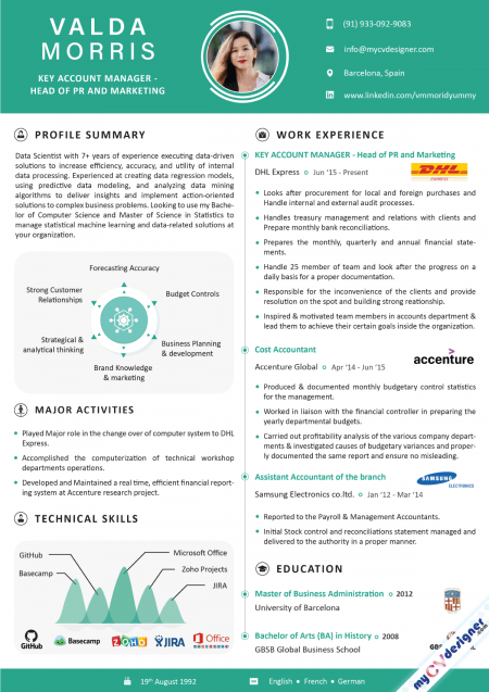 Account Manager Infographic Resume Sample