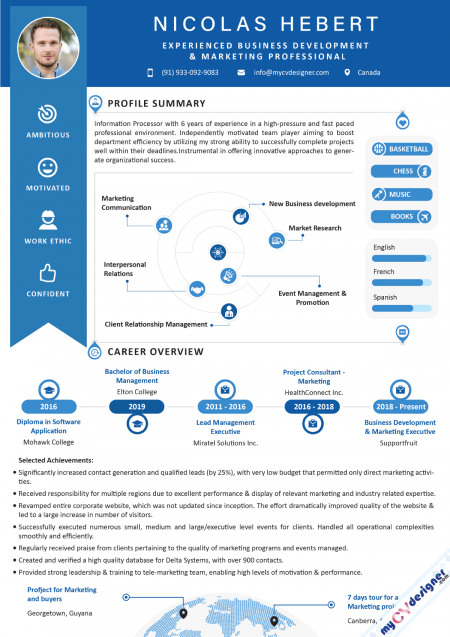 Business Development and Marketing Infographic Resume Template