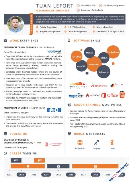Mechanical Engineer Infographic Resume Sample
