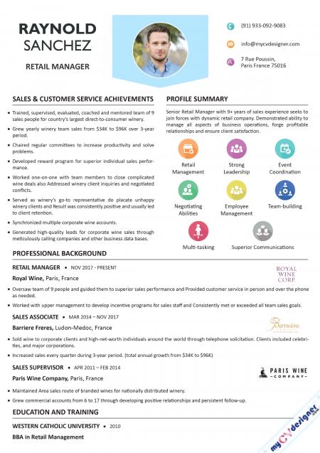 Retail Management Visual Resume Template